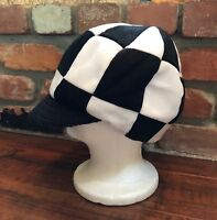 a30fe033d6eb3 ELOPE Everybody s Laughing on Planet Earth White Black Checkered Newsboy Hat  ...