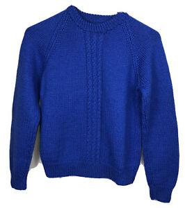 handmade boys blue long sleeve chunky pullover jumper boys 10