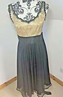 Next Signature Size 8 Fit & Flare Dress Black & Gold Chiffon Silk & Lace Wedding