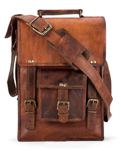 New Men's Genuine Vintage Brown Leather Messenger Shoulder Laptop Bag computer