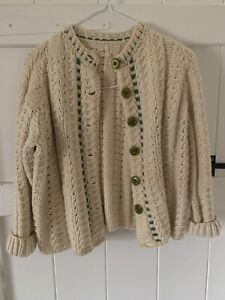 Vintage hand made knitted cream green Aran cable wool cardigan, approx size S