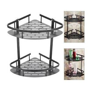 2 Tiers Corner Storage Shower Rack Shelf Organiser Bathroom Caddy Basket Tidy UK