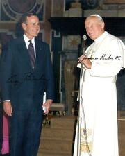 Giovanni Paolo II & George Bush, REPRO-AUTOGRAFO 20x26 CM, signed, Pope John Paul