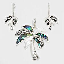Palm Tree Pendant Earrings Beach Nautical Sealife SILVER ABALONE Fashion Jewelry