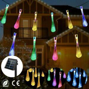 20-50 LED Solar Power Waterproof String Fairy Lights Raindrop Teardrop Outdoor
