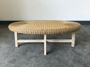 Cream/Beige Oval Rattan/Wicker Top Coffee Table With Solid Limed Wood Legs: Sofa