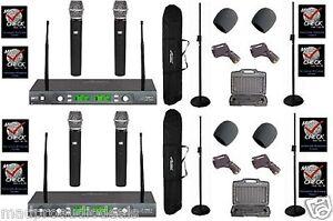 4 wireless microphones set 4 channel UHF professional karaoke dj pa wedding new