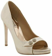 Badgley Mischka SIMBA II open toe pump shoes platinum metallic leather 7,5 US