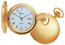 Woodford Plain Gold Plated Full Hunter Quartz Pocket Watch With Chain 1207 New