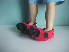 Plush! Black and Red LADYBUG SLIPPERS with Antennaes fits My Twinn