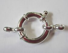 1pc 16mm Solid .925 Sterling Silver Spring Ring Clasp with Connector Big