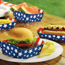 4th of July AMERICAN PRIDE PAPER FOOD TRAYS (50pc) ~ Birthday Party Supplies Red