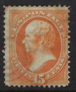 UNITED STATES OF AMERICA :1870 15 cents  bright orange Scott #152 used