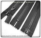 Chunky Zip No.5 Plastic Zipper in Black Open & Closed End, PROFESSIONAL GRADE