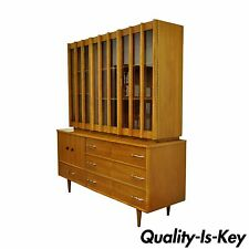 Vtg Mid Century Danish Modern Teak Walnut China Cabinet Credenza Hutch Cupboard