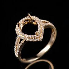 14K Yellow Gold Natural Diamond Semi Mount Ring Split Shank Set Pear Cut 8x10mm