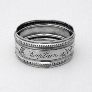 Beaded Engraved Narrow Napkin Ring Coin Silver Mono Captain