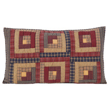 Millsboro Luxury King Quilted Pillow Sham Primitive Log Cabin Patch Vhc Brands