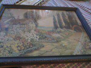 Vtg 1920's R. Atkinson Fox Cottage Villa English Garden Framed Lithograph Print