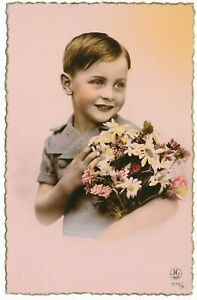 Little Boy Child Holds Flowers French Greetings Postcard Tinted Pink J.G. Paris