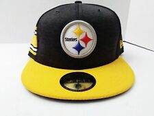 New Era Men 59Fifty Hat NFL Pittsburgh Steelers Snapback Heather Black Gold Cap