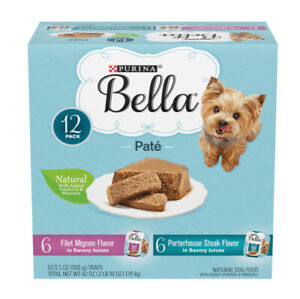 Purina Dog Bella Filet Mignon & Porterhouse Steak Pate, (6 Each) 3.5Oz Trays