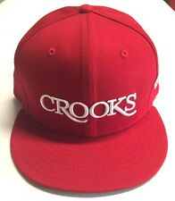 New Era 59/fifty Crooks and Castles CROOKS SERIF Fitted Hat SZ 7 1/2 True Red