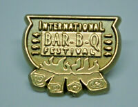 International Bar-B-Q Festival Barbecue Gold Tone Vintage Lapel Pin