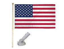 5' Wood Flag Pole Kit With Nylon White Bracket 3x5 Usa 50 Star Polyester Flag