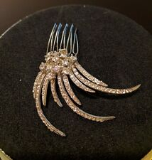 $175 Nina Bridal Hair Comb Swarovski Crystals Feathers Design