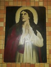 Antique 1894 Painting Mary Magdalene Oil Canvas Original Religious Picture Rare