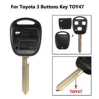 3 Button Remote Key Case Fob Toy47 For Toyota Corolla Camry Yaris Hiace Avensis