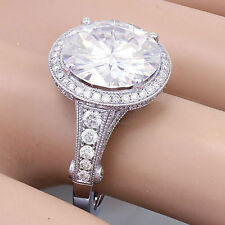 14k White Gold Round Forever One Moisssanite and Diamond Engagement Ring 5.00ctw