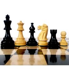 "3.9"" Classic Staunton Weighted Chess Pieces set Extra Queens - Black Wood"