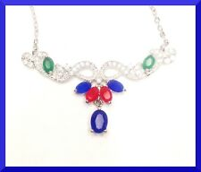 New Multi Color Ruby, Emerald, Sapphire and Topaz 18.5 Necklace Free SHIP # 246