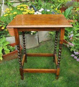 VINTAGE 1940'S OAK BARLEY TWIST SIDE TABLE