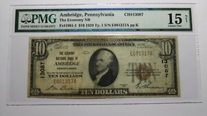$10 1929 Ambridge Pennsylvania PA National Currency Bank Note Bill Ch #13087 F15