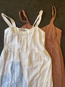 Pair Asos Linen Button Through Maxi Dresses Size 14