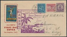 """#717; 718-719 """"OLYMPIC GAMES"""" ON 1ST DAY FLIGHT COVER CACHET JUN 15,1932 BS6244A"""