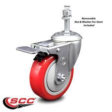 4 Inch Red Polyurethane Swivel 10mm Stem Caster With Total Lock Brake Scc