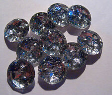 10 x CLEAR & Silver Large Rhinestone Type 2-Hole Buttons 15mm Wide (B22)