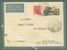Storia postale. COLONIE ITALIANE, ERITREA. Cent. 75 rosa + lire 2 nero verdastro