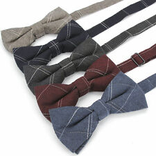 Lot 5 Packs Men's Bow Tie Adjustable Cotton Bowtie Plaids Checks Butterfly Gift