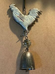 """Rustic Metal Rooster Wind Chime Farm Garden Decor 9"""""""