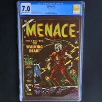 "MENACE #9 (Atlas Comics 1954) 💥 CGC 7.0 💥 ""WALKING DEAD"" Pre-Code Horror! PCH"