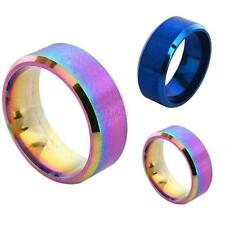 """Fashion Women Men Rainbow Color 8mm Stainless Steel Ring Band Wedding Ring 5-14"""""""