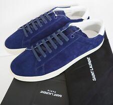 SAINT LAURENT SL-06 Blue Suede Court Classic LOW-TOP Sneakers EU-41 US-8