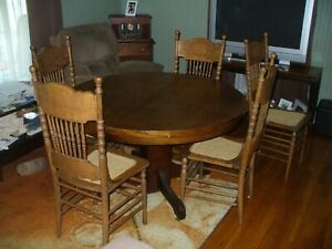 """Antique Oak 6 Piece Dining Room Set Claw Foot 48"""" Table & 5 Pressed Back Chairs"""