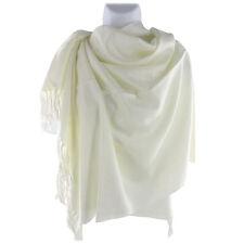 Jacquard Paisley Floral Motif Soft Pashmina Shawl Scarf Stole Wrap Off White