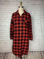 Woolrich Womens Dress Red Black Buffalo Plaid Flannel Pajamas Nightgown Size XS